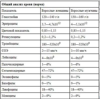 Таблица с нормами общего анализа крови для мужчин и женщин